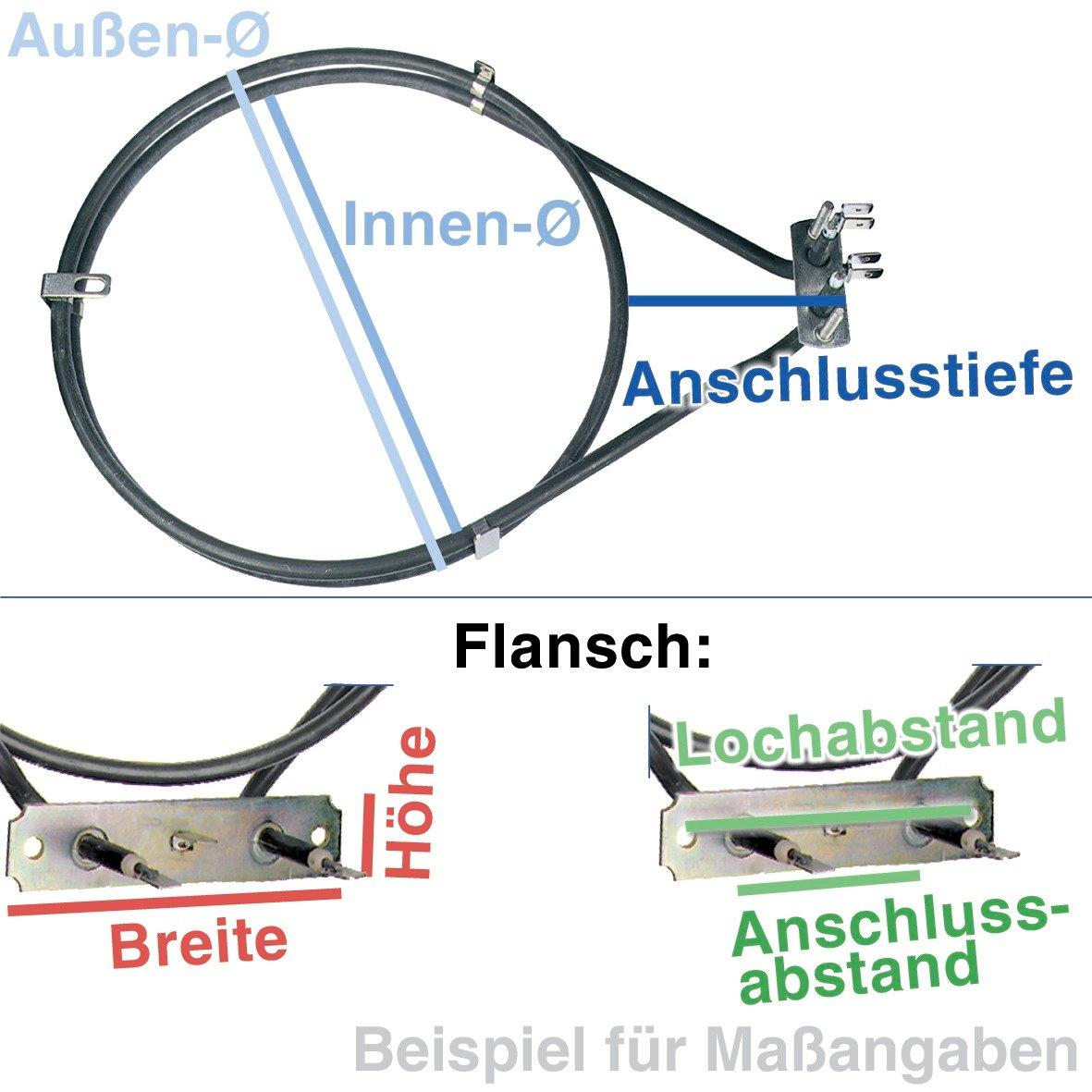 ZANUSSI 397012801//7 Heizelement Heißluftheizung 2000W 230V für Backofen